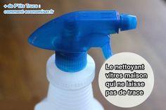 Le nettoyant pour vitre nécessite peu d'ingrédients : - 50 ml de vinaigre blanc (le vinaigre de cidre est aussi efficace) - 50 ml d'alcool à 90° - 1 cuillère à soupe de fécule de maïs type Maïzena.  (Attention : cet ingrédient est important. La fécule est l'agent qui élimine les traces sur les vitres.) - 400 ml d'eau - Facultatif : pour parfumer votre produit, vous pouvez aussi ajouter 8-10 gouttes de votre huile essentielle préférée.