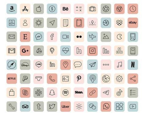 iOS 14 App Icons / 120+ Pastel Aesthetic icons iOS14 / Vintage iOS14 App Icons / iPhone Icon App Pac