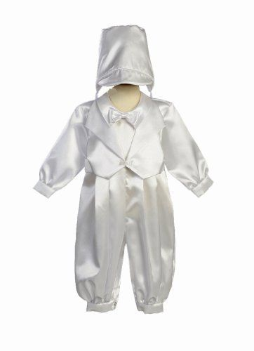 White Satin Christening Baptism Romper with Vest and Matching Hat XL