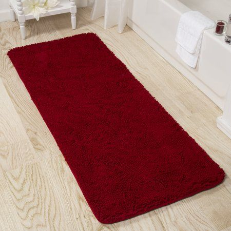 Somerset Home Memory Foam Somerset Homeag Washable Bath Mat 2 Feet By 5 Feet Burgundy Walmart Com Shag Bath Mat Long Bathroom Rugs Washable Bath Mat