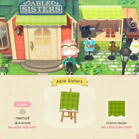 My take on an Able Sisters stall! Animal Crossing 3ds, Animal Crossing Villagers, Animal Crossing Qr Codes Clothes, Animal Games, My Animal, Motif Acnl, Ac New Leaf, Motif Vintage, Path Design