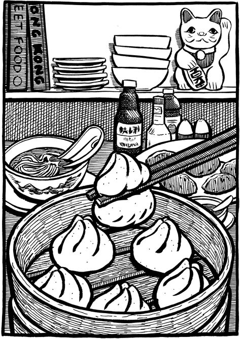 Black & white Chinese street food illustrations