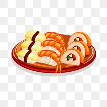 Hand Painted Sushi Painted Sushi Japanese Food Sushi Png And Vector Japanese Food Sushi Food Poster Japanese Food