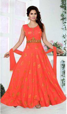 422a7d6e53 A Line Crystals Stones Work Orange Color Party Wear Brocade Butti |  FHKF13625826 Follow us @
