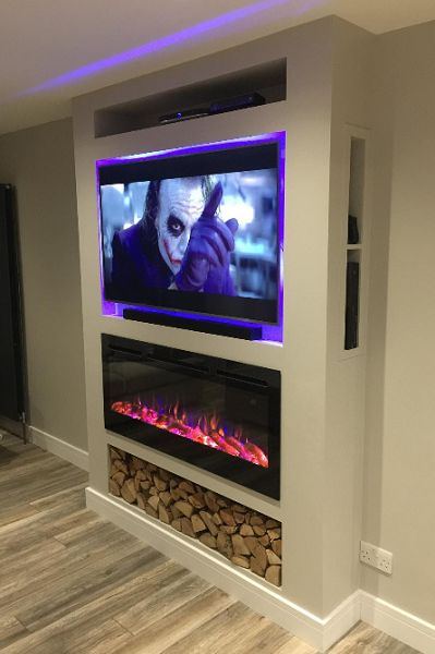 Wall Mounted Electric Fires And Wall Hung Electric Fires Online UK Living Room Decor Fireplace, Fireplace Tv Wall, Fireplace Remodel, Modern Fireplace, Living Room Tv, Fireplace Design, Tv Wall Ideas Living Room, Feature Wall Living Room, Wall Mounted Electric Fires