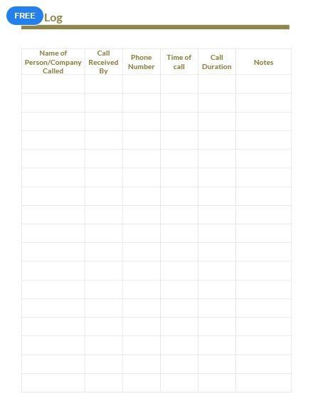 Free Sample Call Log Templates Template Design Words