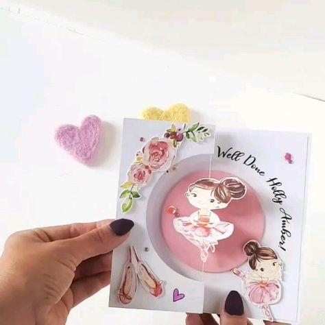 This beautiful ballerina spins around when you open the card. #ballerina #ballerinas #cutecard #girlscard