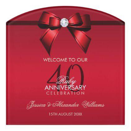 Posh Gem Bow Ribbon 40th Wedding Anniversary Door Sign Zazzle Com In 2020 40th Wedding Anniversary Wedding Anniversary Wedding Anniversary Party