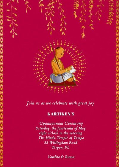Upanayanam Invitation Invitation Card Sample Online Invitation Card Free Invitation Cards