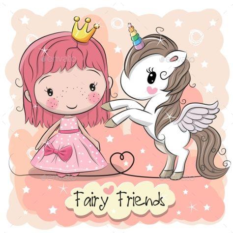 Cartoon Fairy Tale Princess and Unicorn - Miscellaneous Vectors