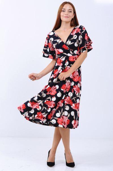 Elbise Pembe Cicek Desen Capraz Yaka Lacivert Elbise Giyim Kapali Etnik Gotik Indirim Sik Tesettur Bayangiyim Moda Stilleri Elbise Elbise Modelleri