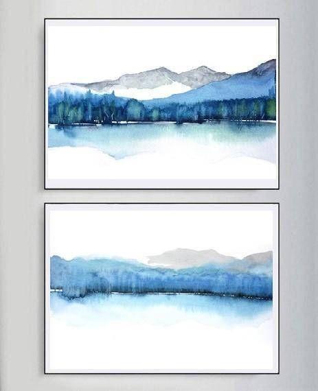 Abstrakte Landschaft Aquarell Moderne Aquarell Druck Kunst