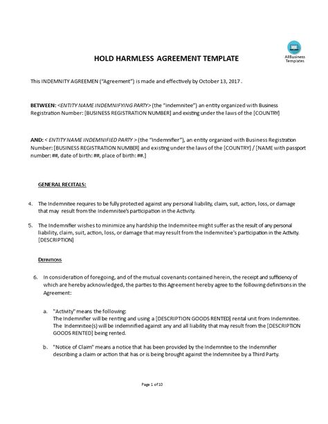 Templates Hold Harmless Indemnity Agreement Templates Hunter