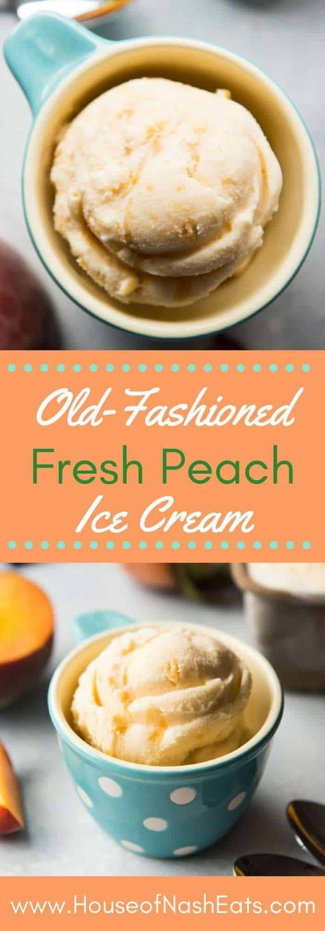 Nothing says summer like creamy cold delicious OldFashioned Fresh Peach Ice Cream made with simple natural ingredients like heavy cream whole milk sugar eggs and plenty o. Ice Cream Desserts, Frozen Desserts, Ice Cream Recipes, Whole Milk Ice Cream Recipe, Frozen Treats, Peach Sorbet Recipes, Simple Ice Cream Recipe, Ice Cream Machine Recipes, Homemade Ice Cream Machine