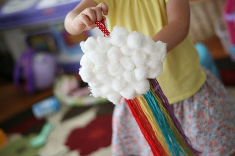 cotton ball and yarn rainbow @Kristy Lumsden Cooper what a cute idea for sunday school/iKids
