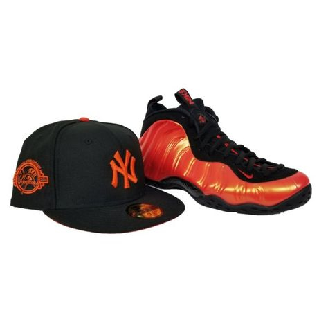 331b3ede1cd Matching New Era New York Yankees Fitted Hat For Nike Foamposite Habanero  Red
