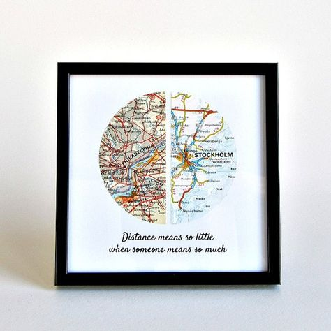 Choose two special places anywhere in the world and a quote and well create a personalized map gift for your long distance love or far away loved ones. Please scroll down for Quote Options and How to Customize instructions. Each half-circle is hand-cut from a real vintage map or