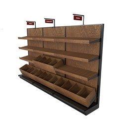 Bakery Display Rack Shown With Gondola Shelving And Bread Bins Bread Display Display Shelves Display Shelf Design