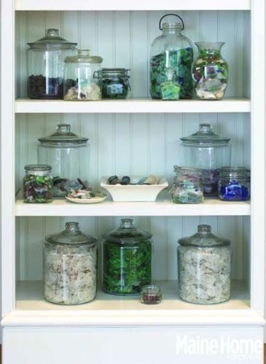 Seaglass Display In Glass Jars Featured On Completely Coastal Https Www Completely Coastal Com 201 Sea Glass Decor Sea Glass Display Displaying Collections