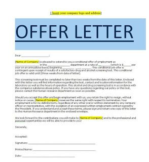 Conditional Job Offerformat De Fichier Microsoft Wordthis