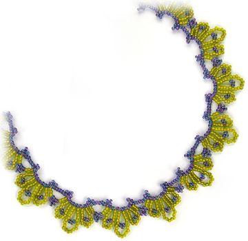 Blue Chartreuse Necklace Beading Pattern by Sandra D. Halpenny at Bead-Patterns.com
