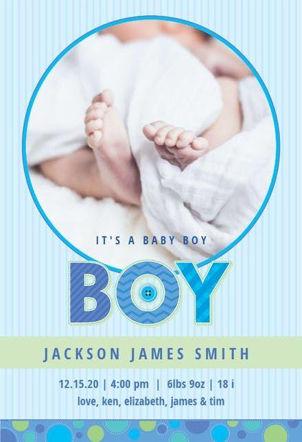 Blue Stripes Baby Boy Birth Announcement Template Free Greetings Island Birth Announcement Template Birth Announcement Boy Baby Boy Announcement Cards