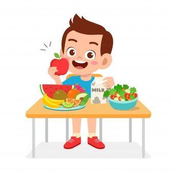 Happy Cute Kid Boy Eat Healthy Food Art Drawings For Kids Cute Kids Happy Kids