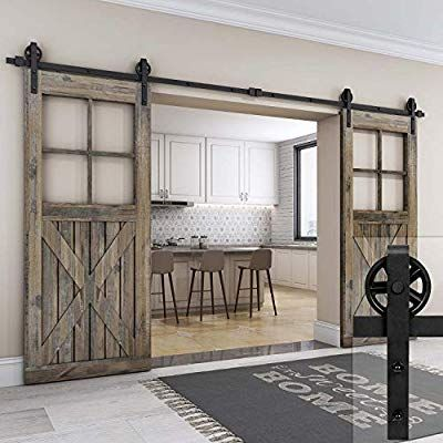 Amazon Com Easelife 10 Ft Heavy Duty Double Sliding Barn Wood Door Hardware Track Kit Slide Smo Interior Sliding Barn Doors Glass Barn Doors Double Barn Doors