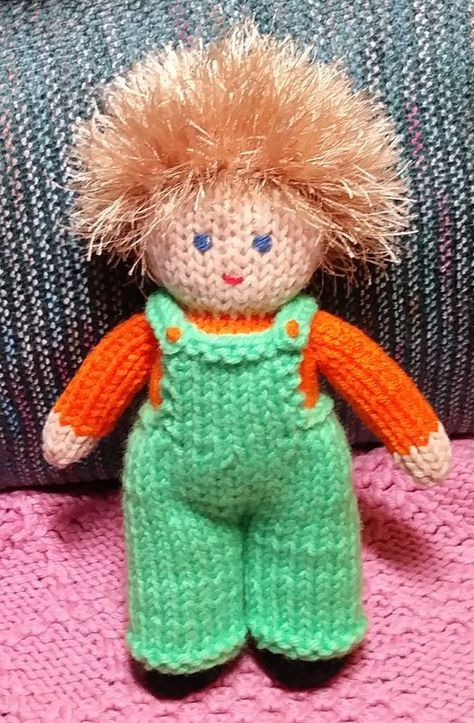 Little Doll in Overalls   Yarn   Knitted doll patterns