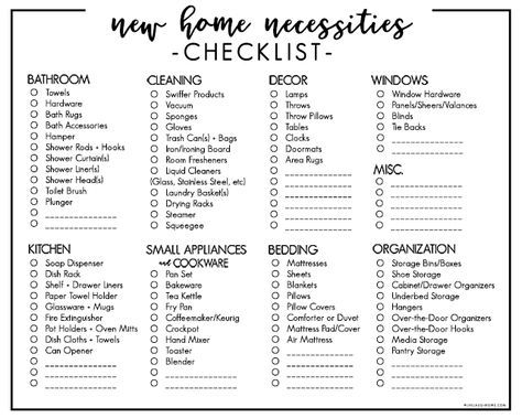 Moving Into Your First Home Or Apartment Buying A New Home This Printable New Home Necessiti First Home Essentials New Home Checklist New Apartment Checklist