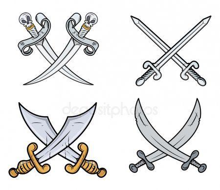 Crossed Swords Set Cartoon Vector Illustration Stock Vector Aff Set Swords Crossed Cartoon Ad