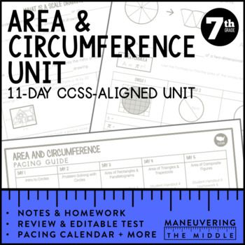 7th Grade Math Area Circumference Scale Drawings Unit 7 G 1 7
