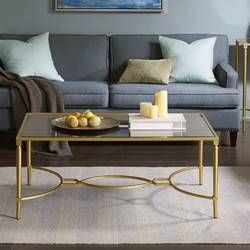 Arviso Sled Coffee Table Sofa End Tables Furniture Mirrored