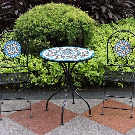 Mosaic Bistro Set Garden Patio Table Chairs Metal Steel Ceramic Blue