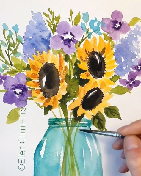 Watercolor sunflowers and lilacs in mason jar #watercolor