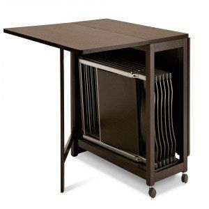 Rectangular Foldable Dining Table With Chair Storage Under The Top