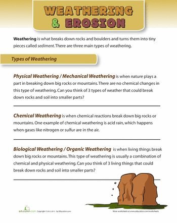Types Of Weathering Worksheet Education Com Science Worksheets Earth And Space Science Middle School Science Experiments