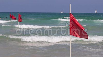 Red Flag On Sand Beach For Warning Of Dangerous Of Swimming In The Sea Israel Mediterranean Sea Beach Sand Outdoor Outdoor Decor