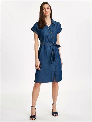 Indigo Beli Baglama Detailed Jean Shirt Dress Lc Waikiki Gomlek Elbise The Dress Elbise