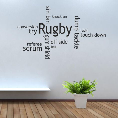 Rugby Collage Wall Art Picture Sticker ball gum shield scrum cap in Home, Furniture & DIY, Home Decor, Wall Decals & Stickers