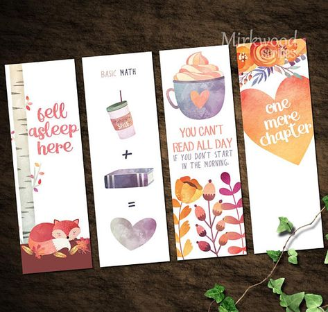 Cozy Fall Watercolor Printable Bookmarks |  Autumn Bookmark Set of 4 Reader Gift | Fox Coffee Waterc