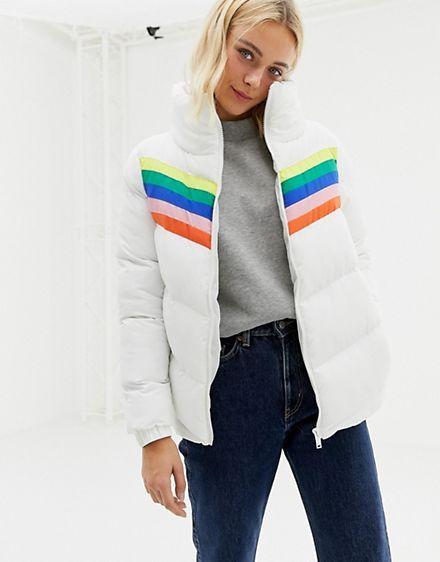 New Womens Rainbow Stripe Design Insert Padded Jacket Coat