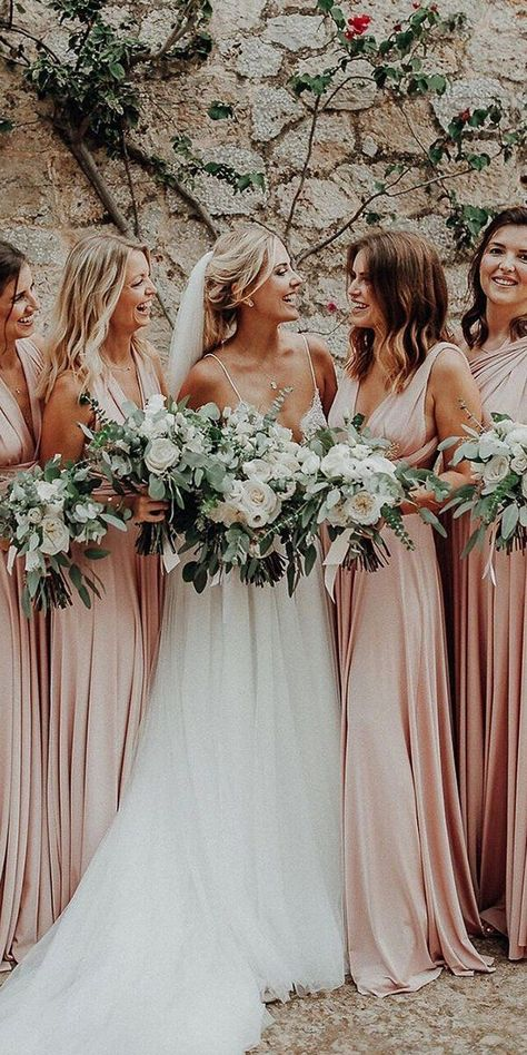 Buying blush bridesmaid dresses you make the right choise. This blush color represent sweetness and love, making charming atmosphere around. Blush Bridesmaid Dresses Long, Bridesmaid Flowers, Convertible Bridesmaid Dresses, Prom Dresses, Blush Colored Bridesmaid Dresses, Bridesmaid Dresses Different Colors, Evening Dresses, Pastel Bridesmaid Dresses, Bridesmaid Dress Colors