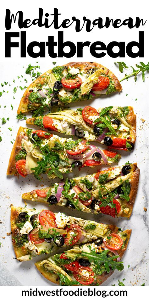 This Mediterranean Flatbread pizza is the perfect quick and easy vegetarian dinner for a busy weeknight! My 5 Minute Flatbread crust creates a crispy, crunchy base that is topped with homemade spinach Tasty Vegetarian Recipes, Vegetarian Recipes Dinner, Veggie Recipes, Cooking Recipes, Healthy Flatbread Recipes, Dinner Healthy, Flatbread Ideas, Flatbread Toppings, Vegan Recipes