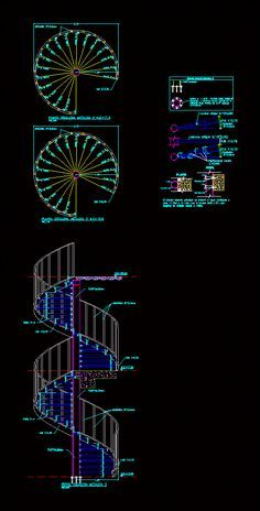 Extrêmement Concrete Spiral Staircase (dwg - Autocad drawing) - 2d Stairways  TP59