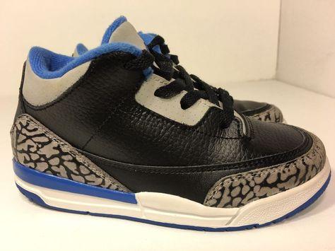 c4fec2e6127 ... low price nike air jordan retro 3 bt toddler size10c black sport blue  wolf grey 832033