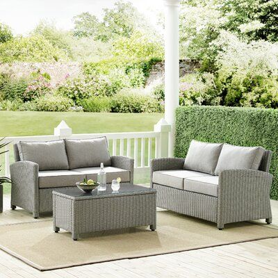 Birch Lane Heritage Lawson 3 Piece Rattan Sofa Seating Group With Cushions Cushion Color Gray F Outdoor Wicker Seating Outdoor Loveseat Patio Furniture Sets