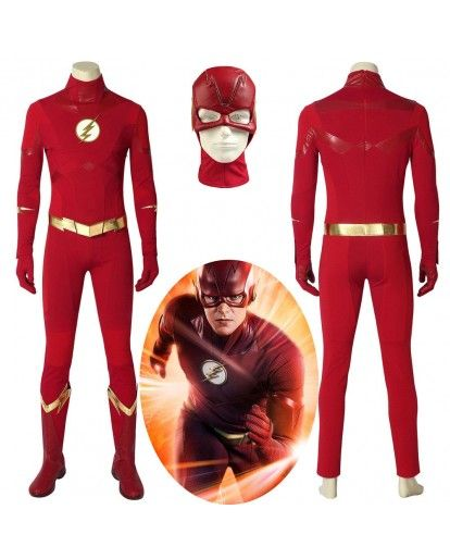 The Flash Season 5 Cosplay Barry Allen Costume Custom Made Adult Halloween Suit