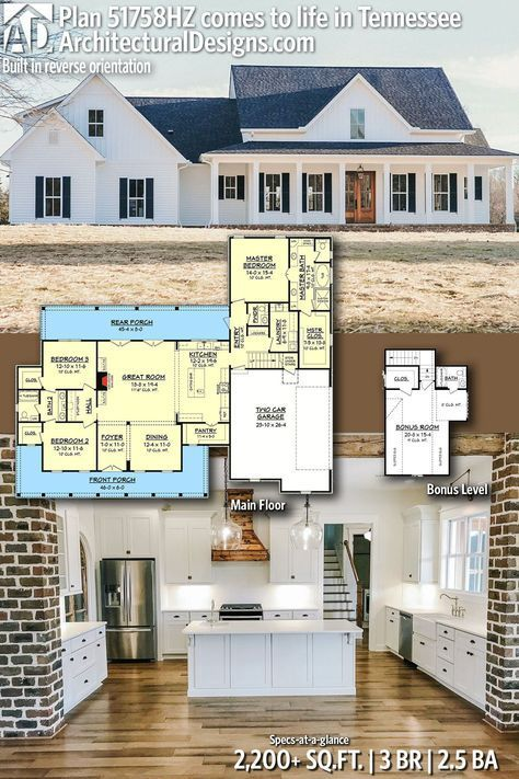 Plan 51758hz Three Bed Farmhouse With Optional Bonus Room New House Plans Dream House Plans House Plans
