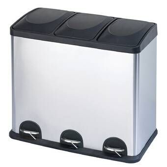 Stainless Steel 3 Compartment 12 Gallon Trash Can In 2021 Kitchen Trash Cans Recycling Bins Trash And Recycling Bin Trash can with recycling compartment